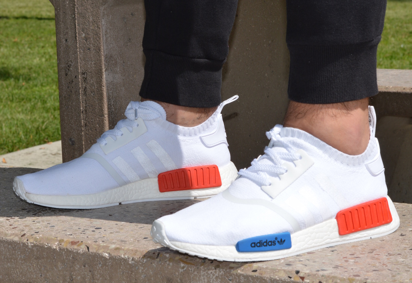 adidas NMD R1 Primeknit On Feet White Red Blue