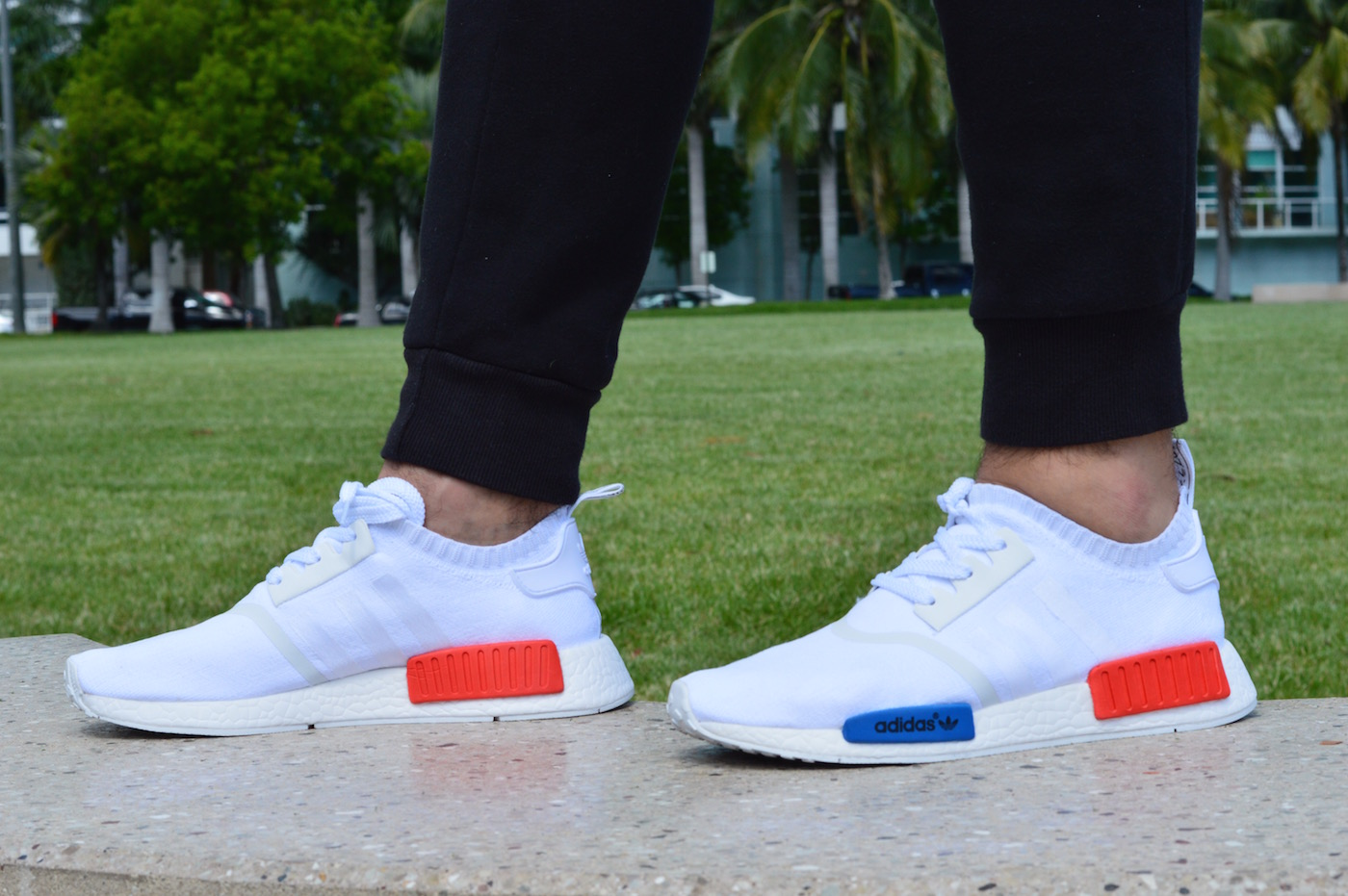 adidas NMD R1 Primeknit On Feet Inside View White Red Blue