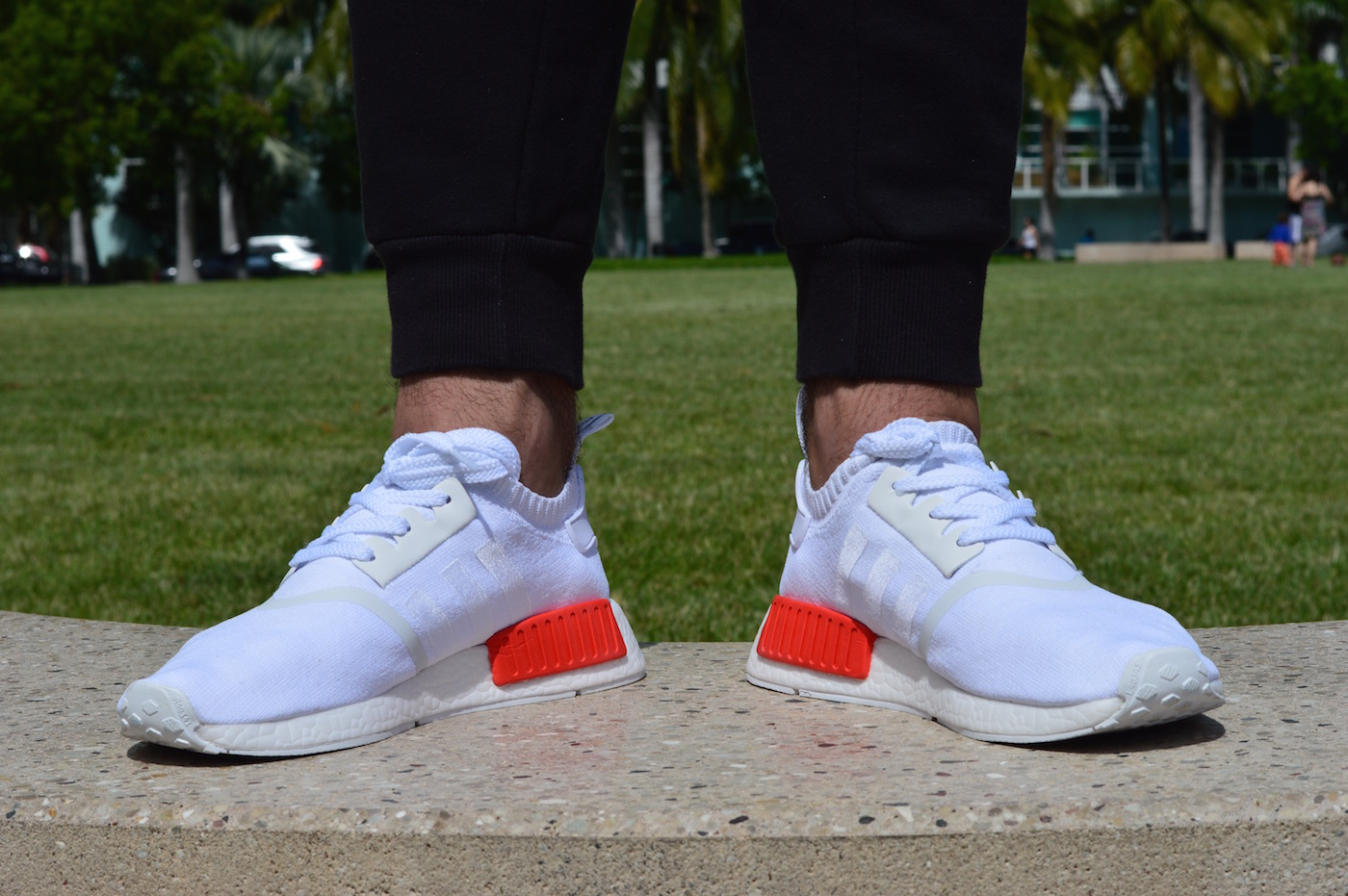 adidas NMD R1 Primeknit On Feet Inner White Red Blue