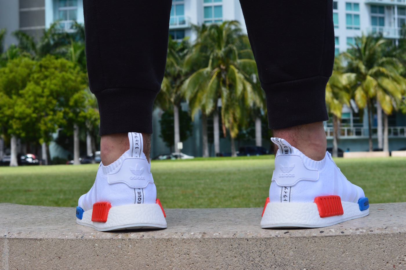 adidas NMD R1 Primeknit On Feet Back View White Red Blue