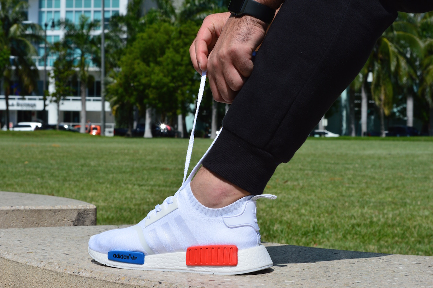 adidas NMD R1 Primeknit On Feet Shoelaces White Red Blue