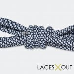 Navy Blue Rope Shoelaces Close Up