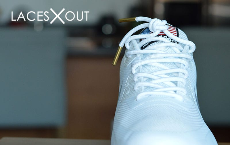 Gold Tipped White Shoelaces